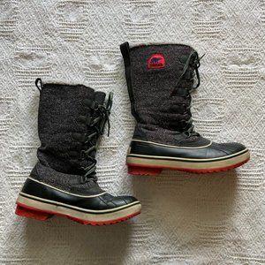 Sorel grey herringbone lace up waterproof winter boots size 7